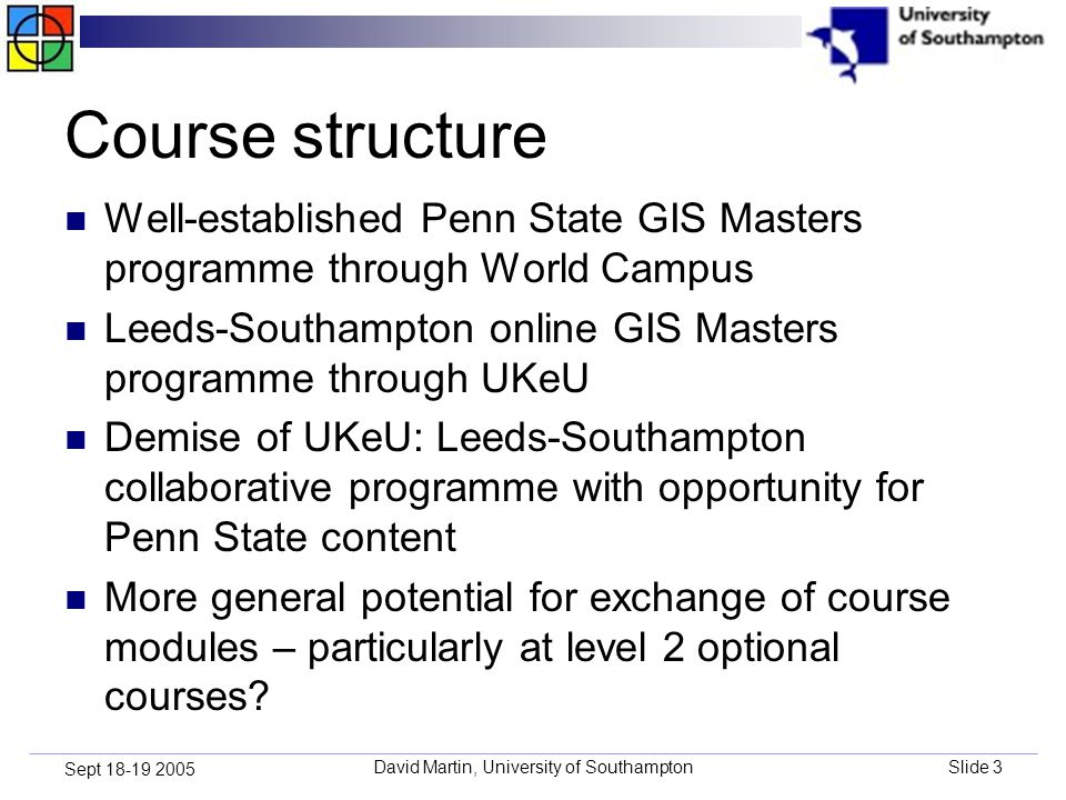 David Martin, University of SouthamptonSlide 3 Sept 18-19 2005 Course structure Well-established Penn State GIS Masters programme through World Campus Leeds-Southampton online GIS Masters programme through UKeU Demise of UKeU: Leeds-Southampton collaborative programme with opportunity for Penn State content More general potential for exchange of course modules – particularly at level 2 optional courses