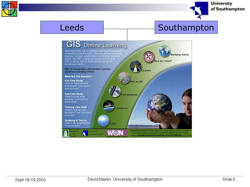 David Martin, University of SouthamptonSlide 5 Sept 18-19 2005 SouthamptonLeeds