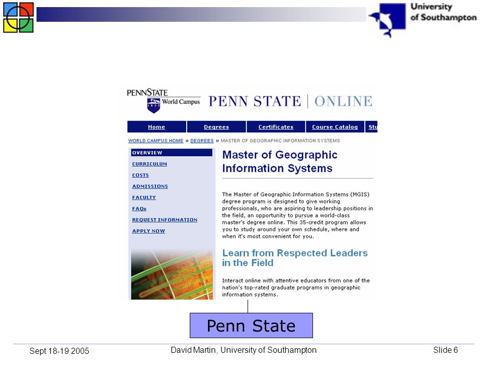 David Martin, University of SouthamptonSlide 6 Sept 18-19 2005 Penn State