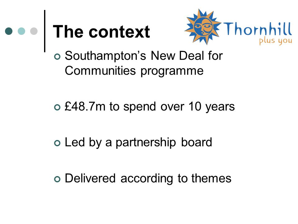 The context Southampton's New Deal for Communities programme £48.7m to spend over 10 years Led by a partnership board Delivered according to themes