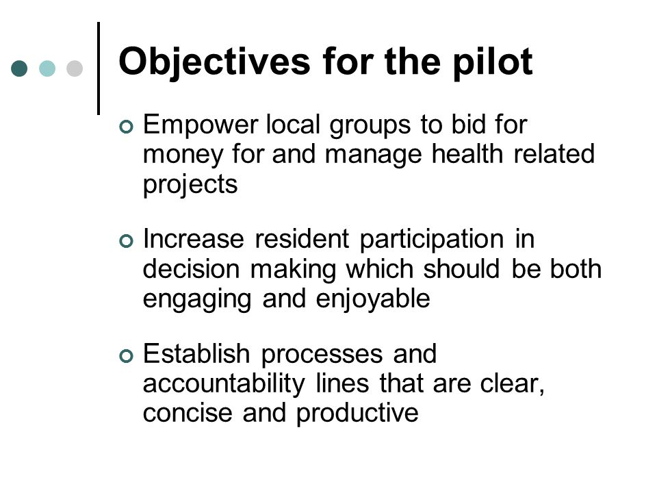 Objectives for the pilot Empower local groups to bid for money for and manage health related projects Increase resident participation in decision making which should be both engaging and enjoyable Establish processes and accountability lines that are clear, concise and productive