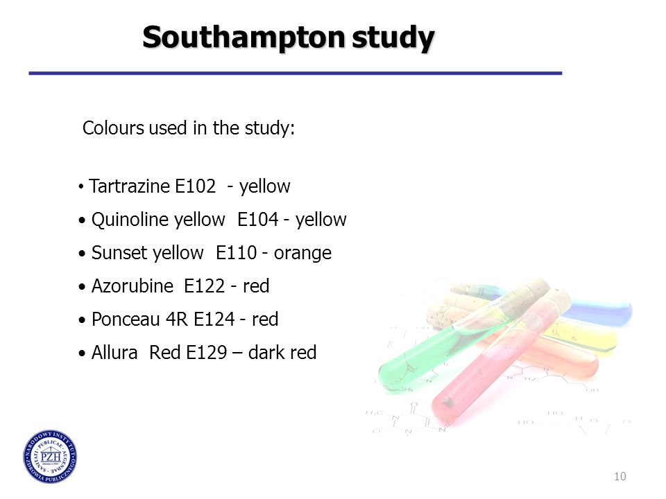 10 Tartrazine E102 - yellow Quinoline yellow E104 - yellow Sunset yellow E110 - orange Azorubine E122 - red Ponceau 4R E124 - red Allura Red E129 – dark red Southampton study Colours used in the study: