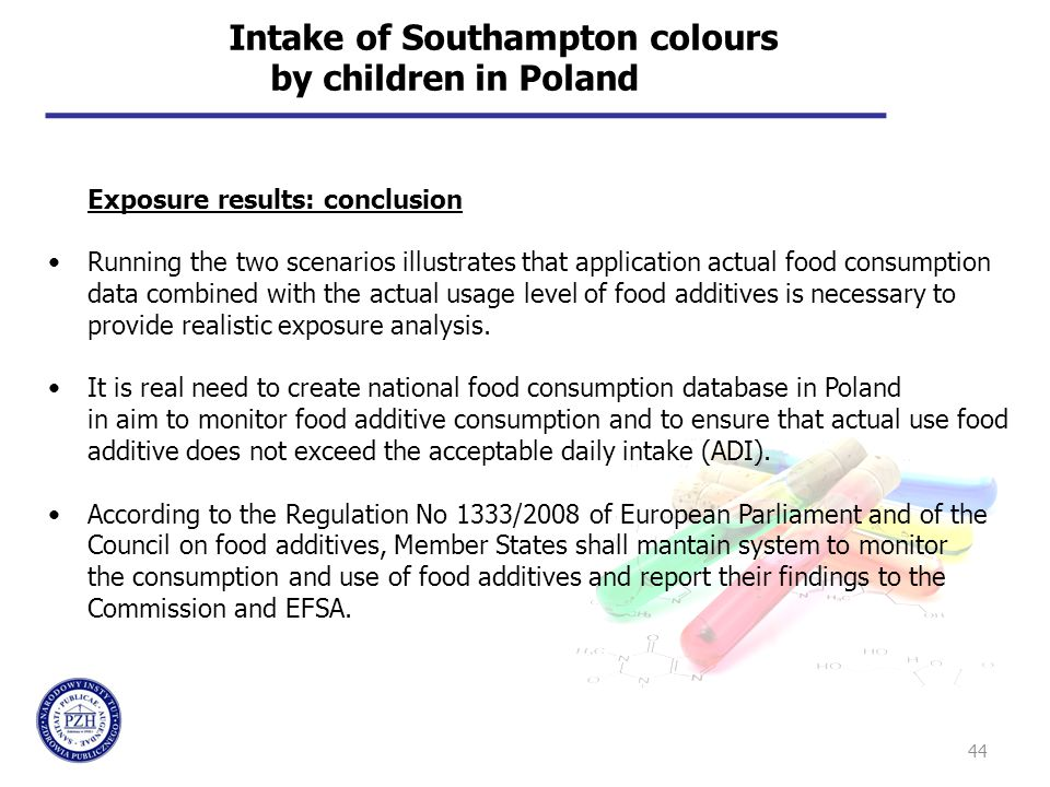 44 Intake of Southampton colours by children in Poland Exposure results: conclusion Running the two scenarios illustrates that application actual food