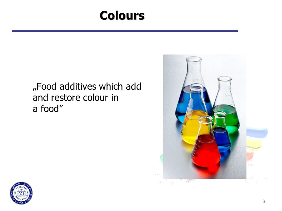 "8 Colours ""Food additives which add and restore colour in a food"""