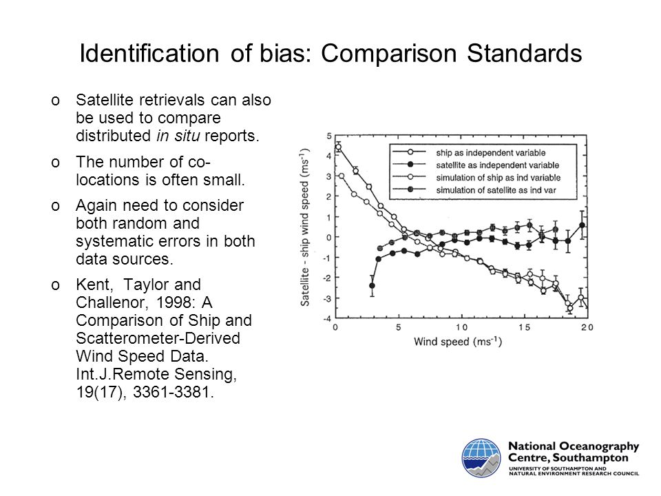 Identification of bias: Comparison Standards oSatellite retrievals can also be used to compare distributed in situ reports.