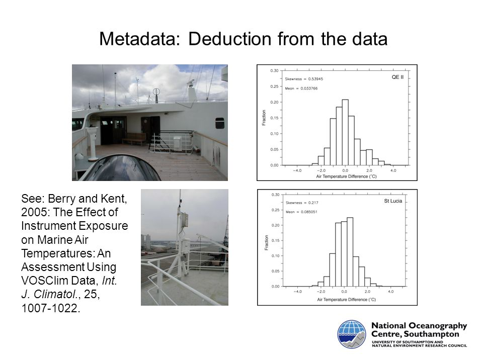 Metadata: Deduction from the data See: Berry and Kent, 2005: The Effect of Instrument Exposure on Marine Air Temperatures: An Assessment Using VOSClim Data, Int.