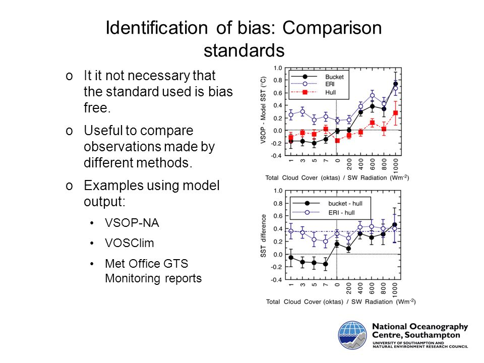 Identification of bias: Comparison standards oIt it not necessary that the standard used is bias free.