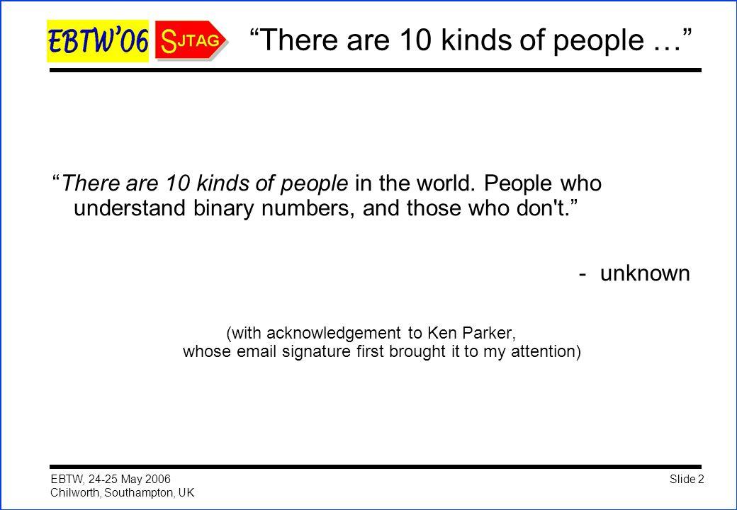 Slide 2 EBTW, 24-25 May 2006 Chilworth, Southampton, UK There are 10 kinds of people … There are 10 kinds of people in the world.
