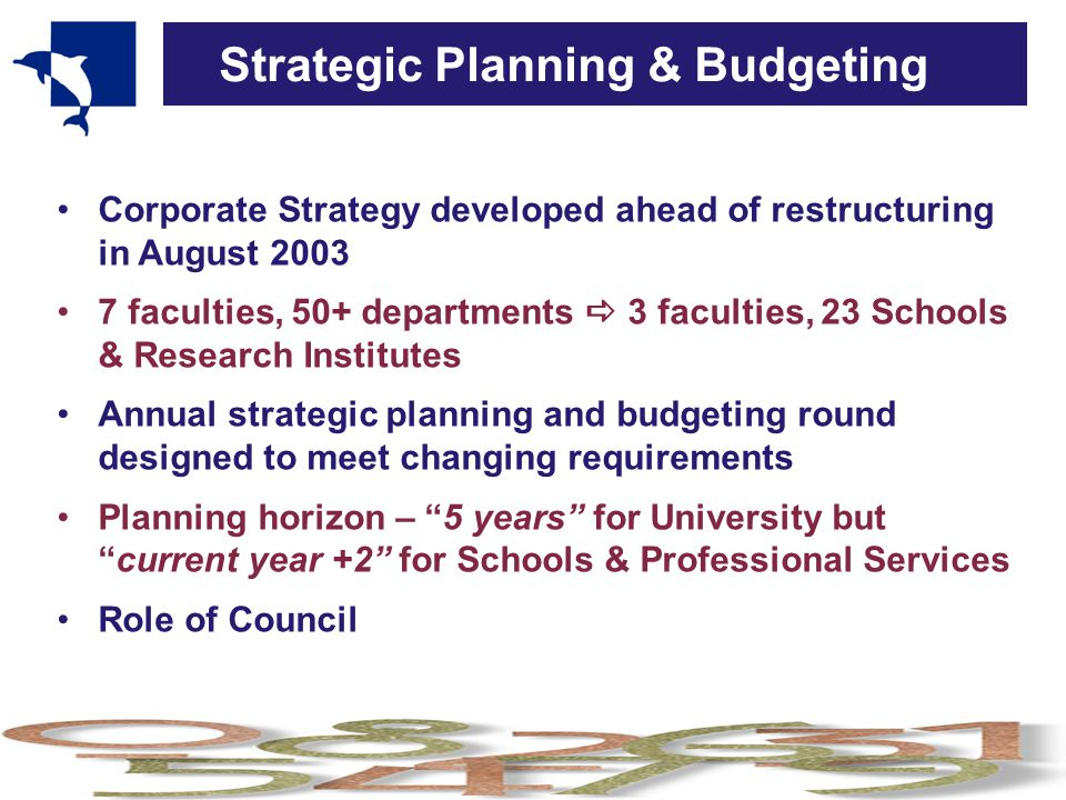 Strategic Planning & Budgeting Corporate Strategy developed ahead of restructuring in August 2003 7 faculties, 50+ departments  3 faculties, 23 Schools & Research Institutes Annual strategic planning and budgeting round designed to meet changing requirements Planning horizon – 5 years for University but current year +2 for Schools & Professional Services Role of Council