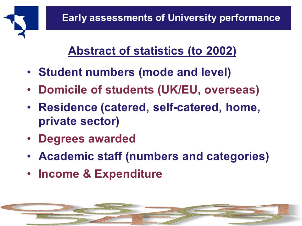 Early assessments of University performance Abstract of statistics (to 2002) Student numbers (mode and level) Domicile of students (UK/EU, overseas) Residence (catered, self-catered, home, private sector) Degrees awarded Academic staff (numbers and categories) Income & Expenditure