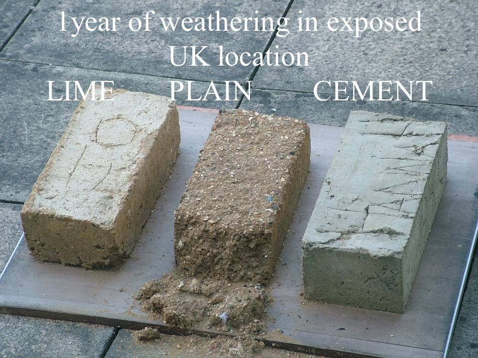 1year of weathering in exposed UK location LIME PLAIN CEMENT