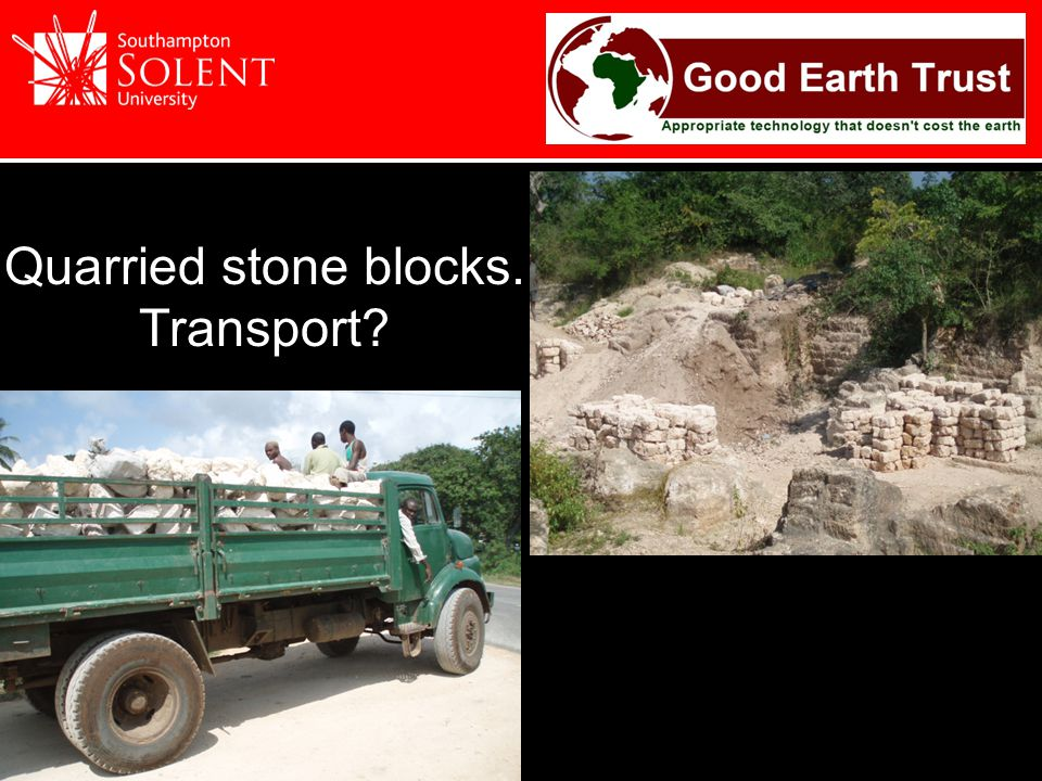 Quarried stone blocks. Transport