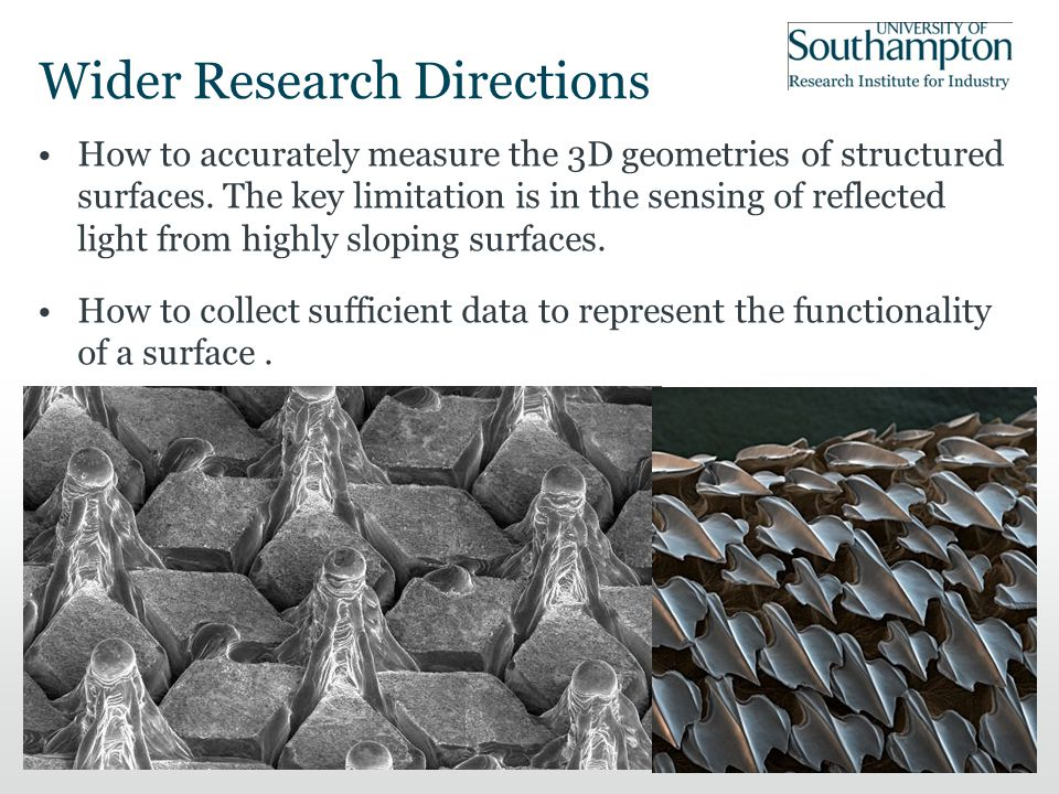 Wider Research Directions How to accurately measure the 3D geometries of structured surfaces.