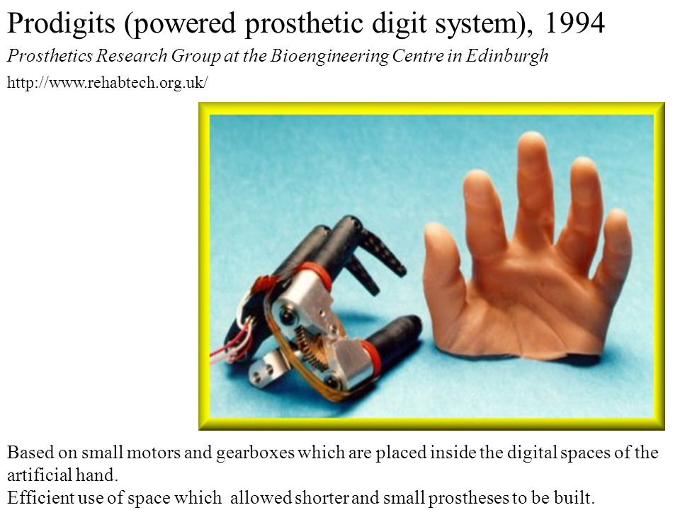 Based on small motors and gearboxes which are placed inside the digital spaces of the artificial hand.