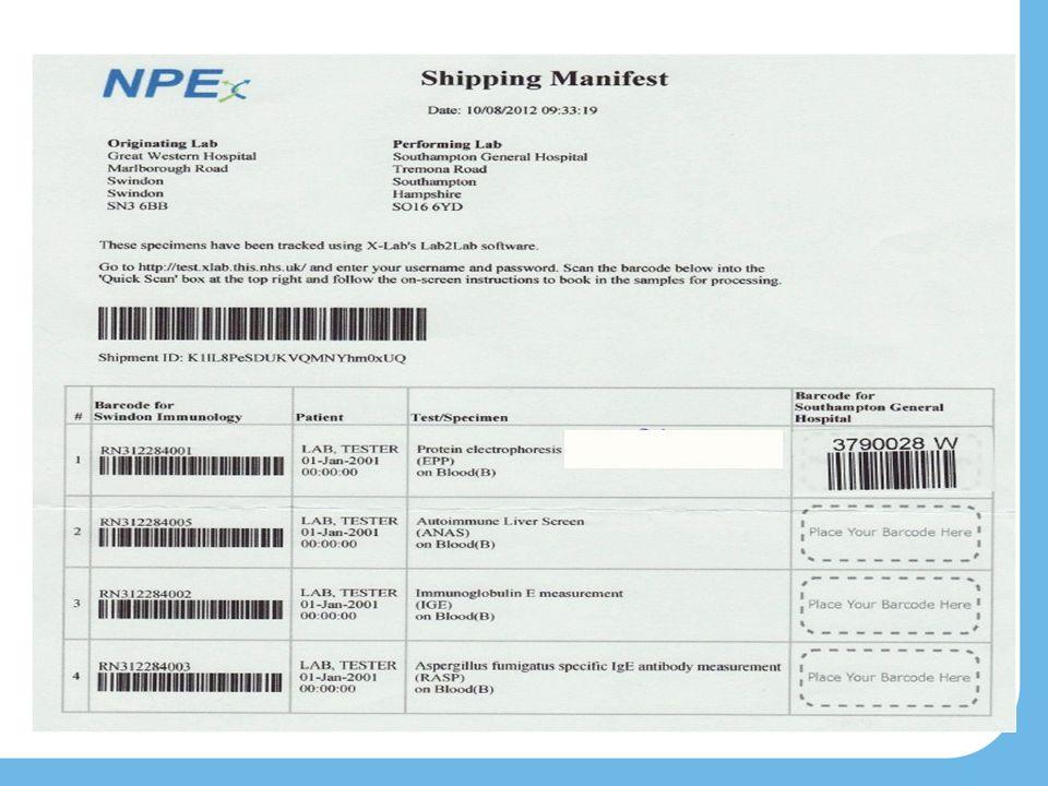 Shipment example