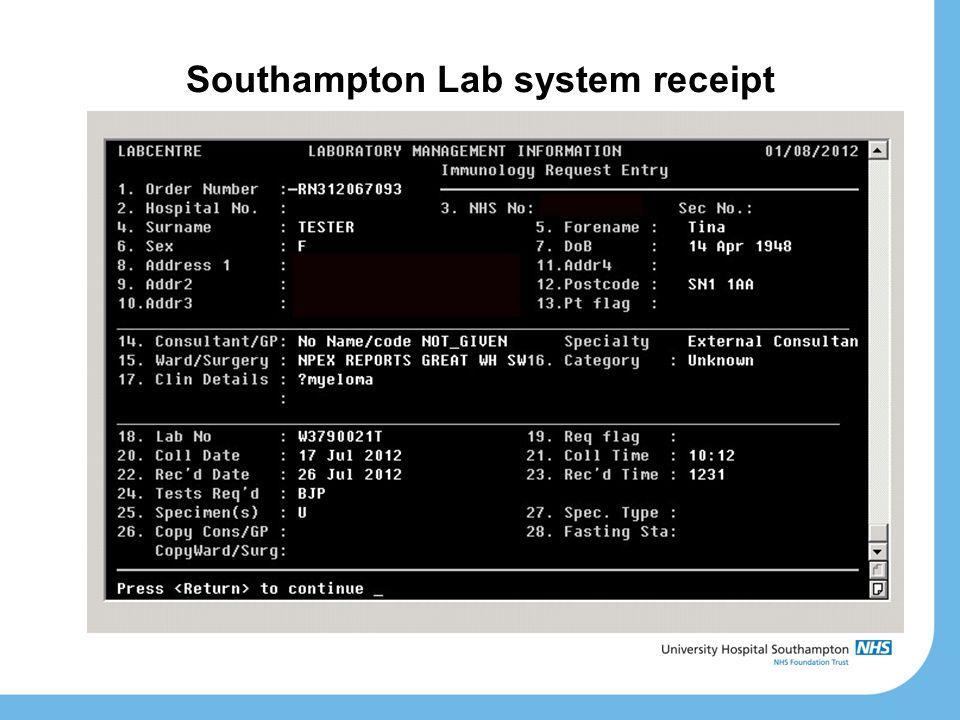 Southampton Lab system receipt