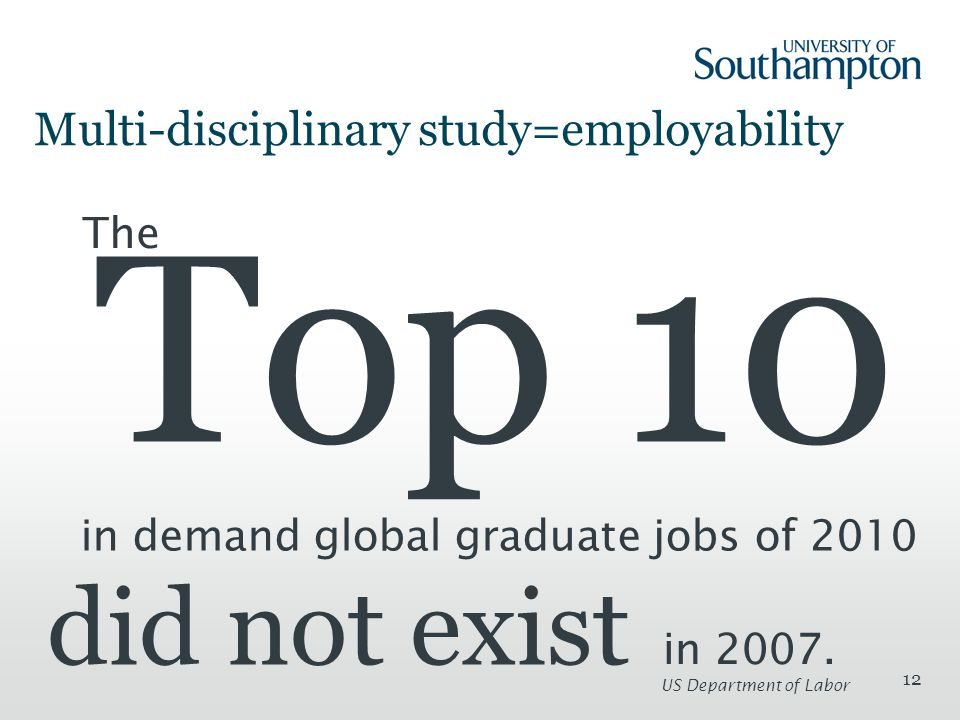 12 Multi-disciplinary study=employability The Top 10 in demand global graduate jobs of 2010 did not exist in 2007.