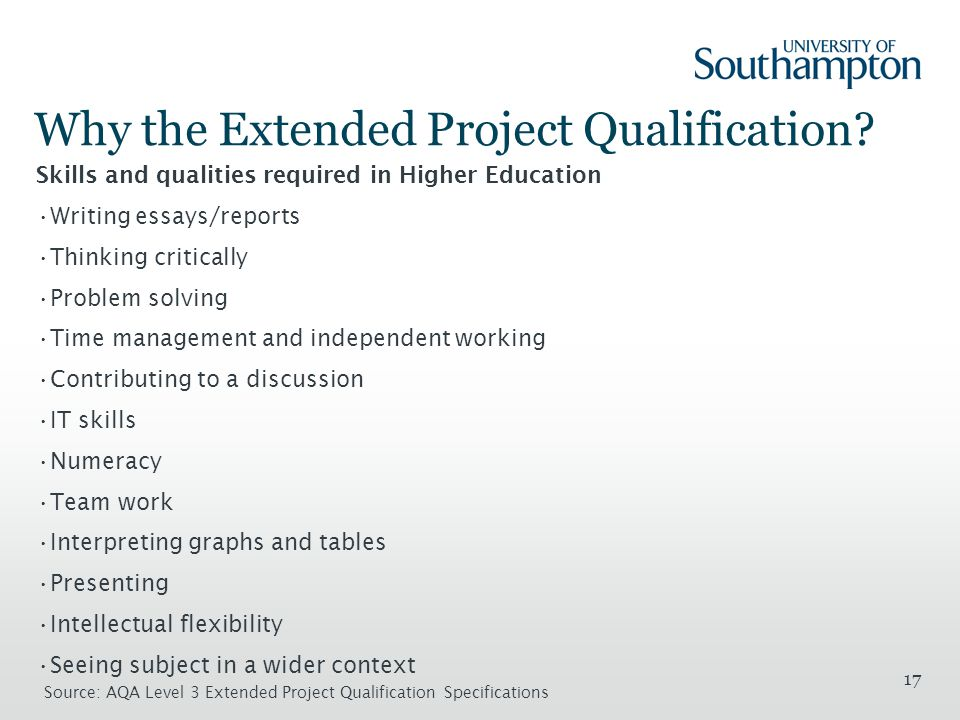 17 Why the Extended Project Qualification.