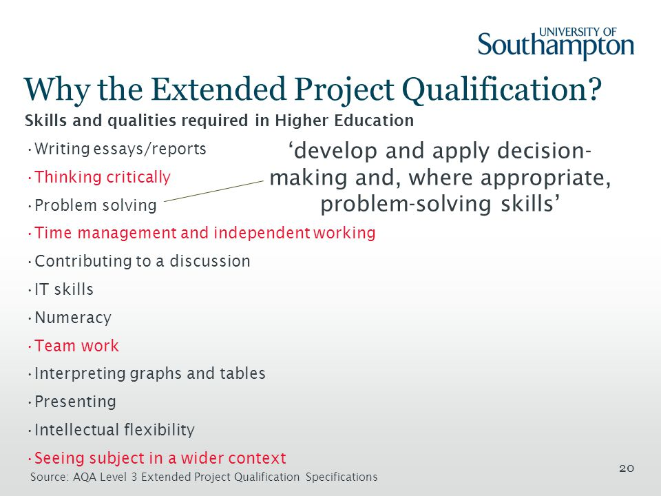 20 Why the Extended Project Qualification.