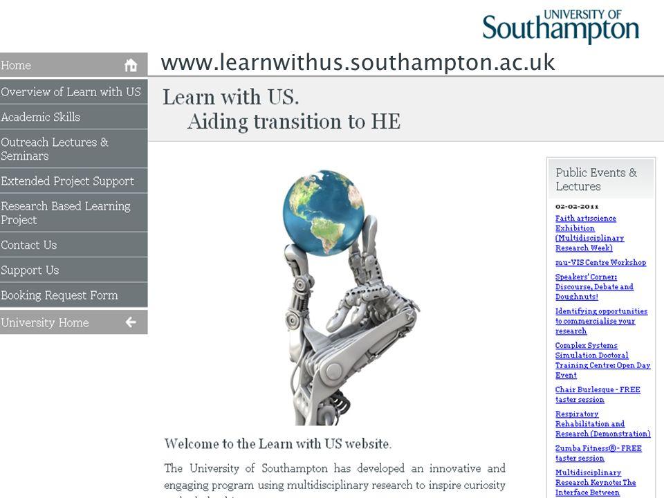 38 www.learnwithus.southampton.ac.uk