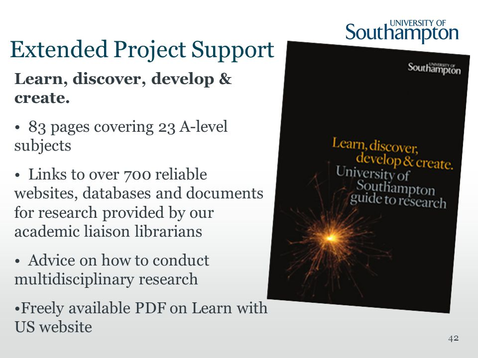 42 Extended Project Support Learn, discover, develop & create.