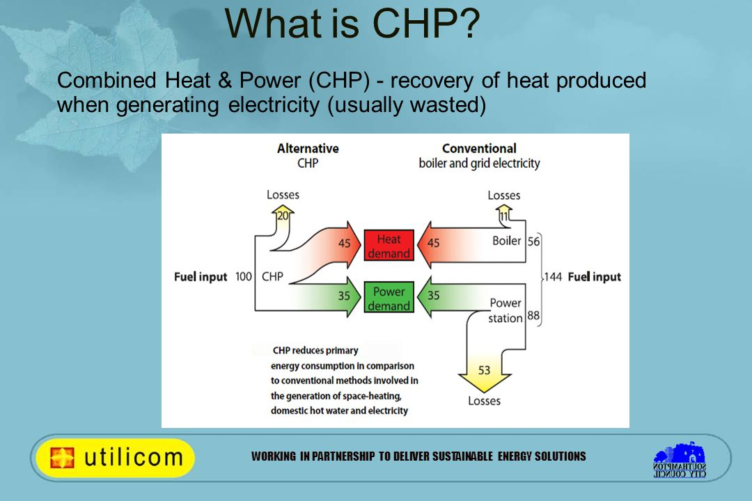 WORKING IN PARTNERSHIP TO DELIVER SUSTAINABLE ENERGY SOLUTIONS Combined Heat & Power (CHP) - recovery of heat produced when generating electricity (usually wasted) What is CHP