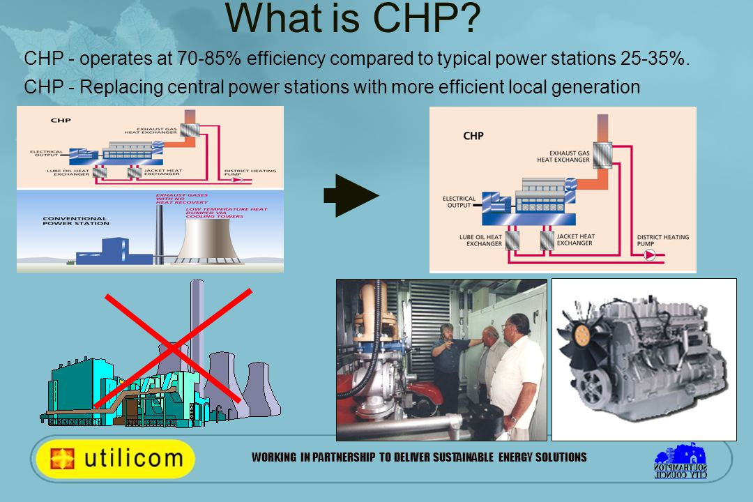 WORKING IN PARTNERSHIP TO DELIVER SUSTAINABLE ENERGY SOLUTIONS CHP - operates at 70-85% efficiency compared to typical power stations 25-35%. CHP - Re