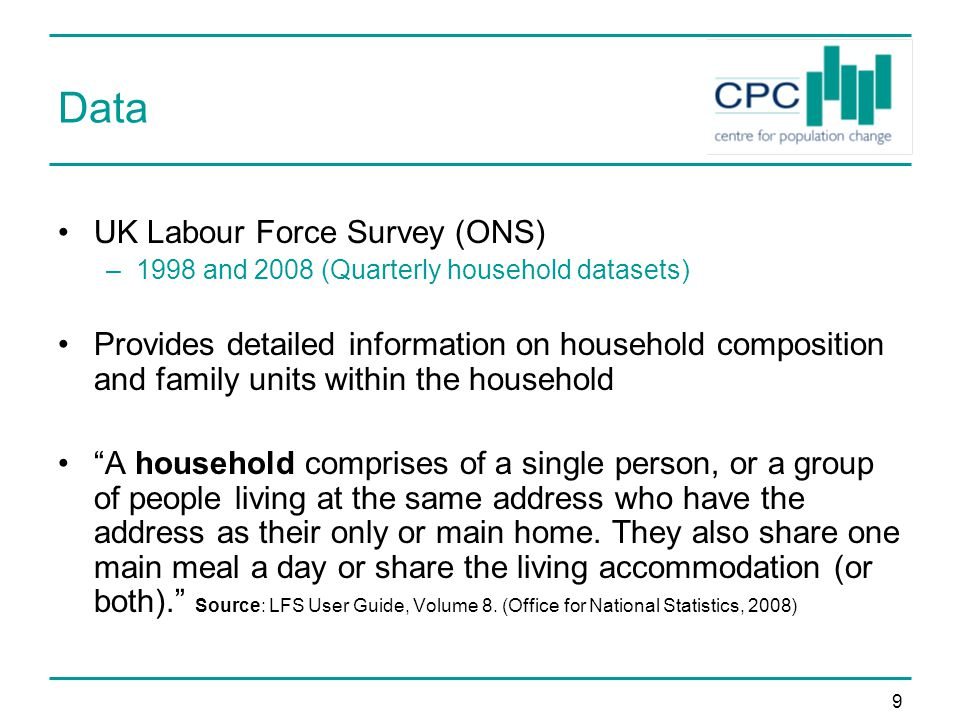 9 Data UK Labour Force Survey (ONS) –1998 and 2008 (Quarterly household datasets) Provides detailed information on household composition and family units within the household A household comprises of a single person, or a group of people living at the same address who have the address as their only or main home.