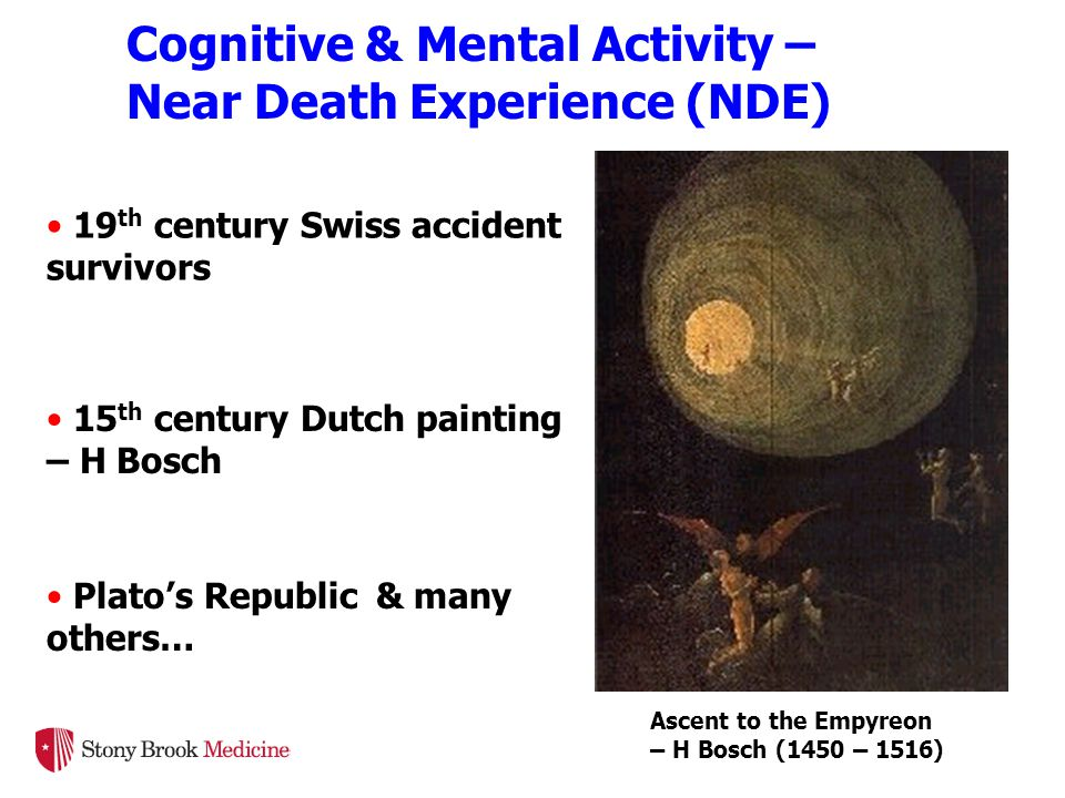 19 th century Swiss accident survivors 15 th century Dutch painting – H Bosch Plato's Republic & many others… Ascent to the Empyreon – H Bosch (1450 – 1516) Cognitive & Mental Activity – Near Death Experience (NDE)
