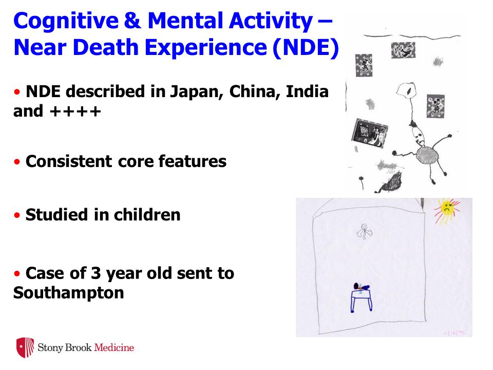 NDE described in Japan, China, India and ++++ Consistent core features Studied in children Case of 3 year old sent to Southampton Cognitive & Mental Activity – Near Death Experience (NDE)