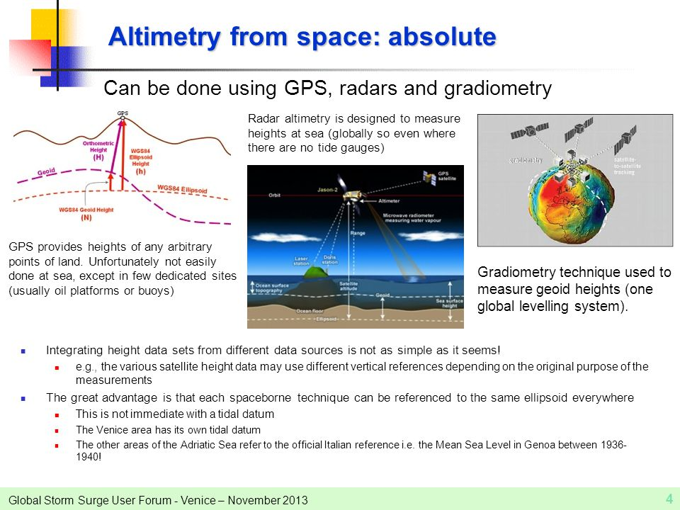 Global Storm Surge User Forum - Venice – November 2013 4 Altimetry from space: absolute Can be done using GPS, radars and gradiometry GPS provides hei