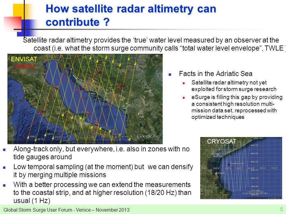 Global Storm Surge User Forum - Venice – November 2013 Satellite radar altimetry provides the 'true' water level measured by an observer at the coast (i.e.