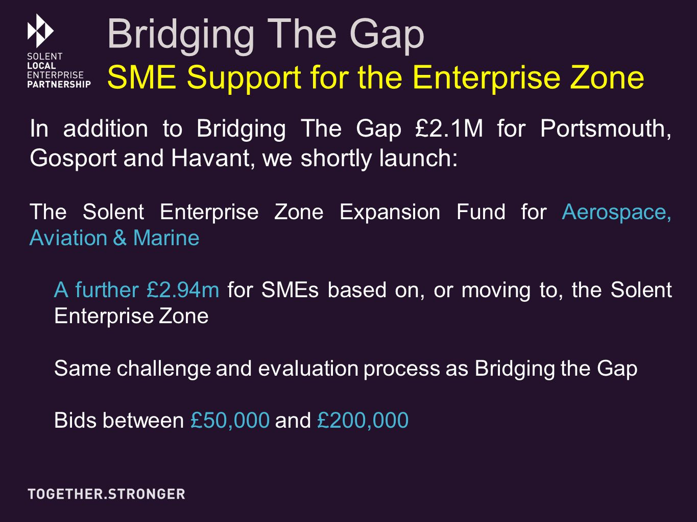 In addition to Bridging The Gap £2.1M for Portsmouth, Gosport and Havant, we shortly launch: The Solent Enterprise Zone Expansion Fund for Aerospace, Aviation & Marine A further £2.94m for SMEs based on, or moving to, the Solent Enterprise Zone Same challenge and evaluation process as Bridging the Gap Bids between £50,000 and £200,000 Bridging The Gap SME Support for the Enterprise Zone