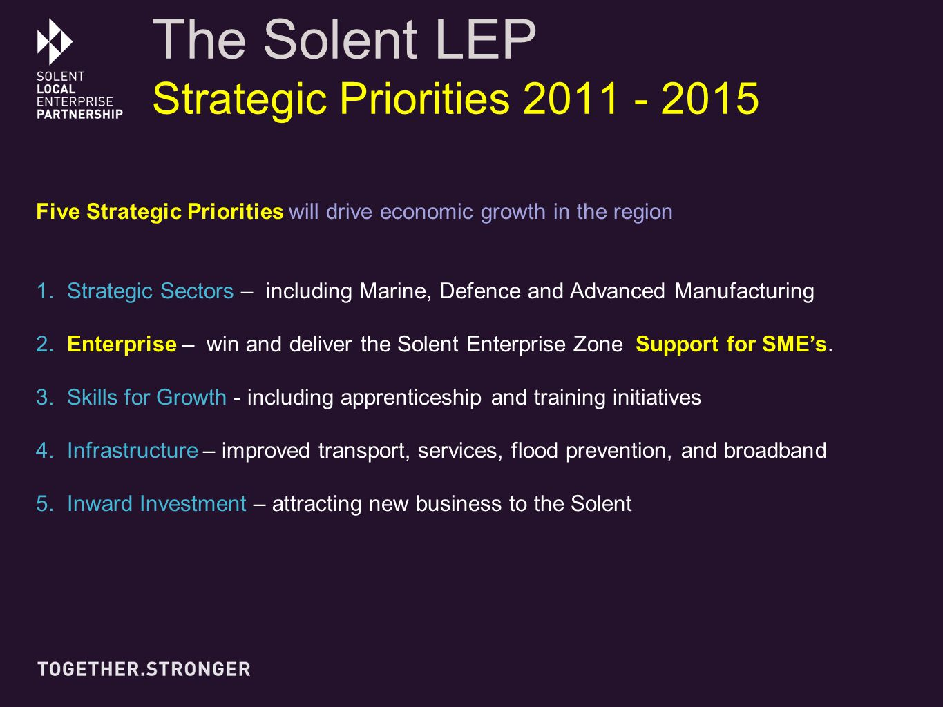 The Solent LEP Strategic Priorities 2011 - 2015 Five Strategic Priorities will drive economic growth in the region 1.