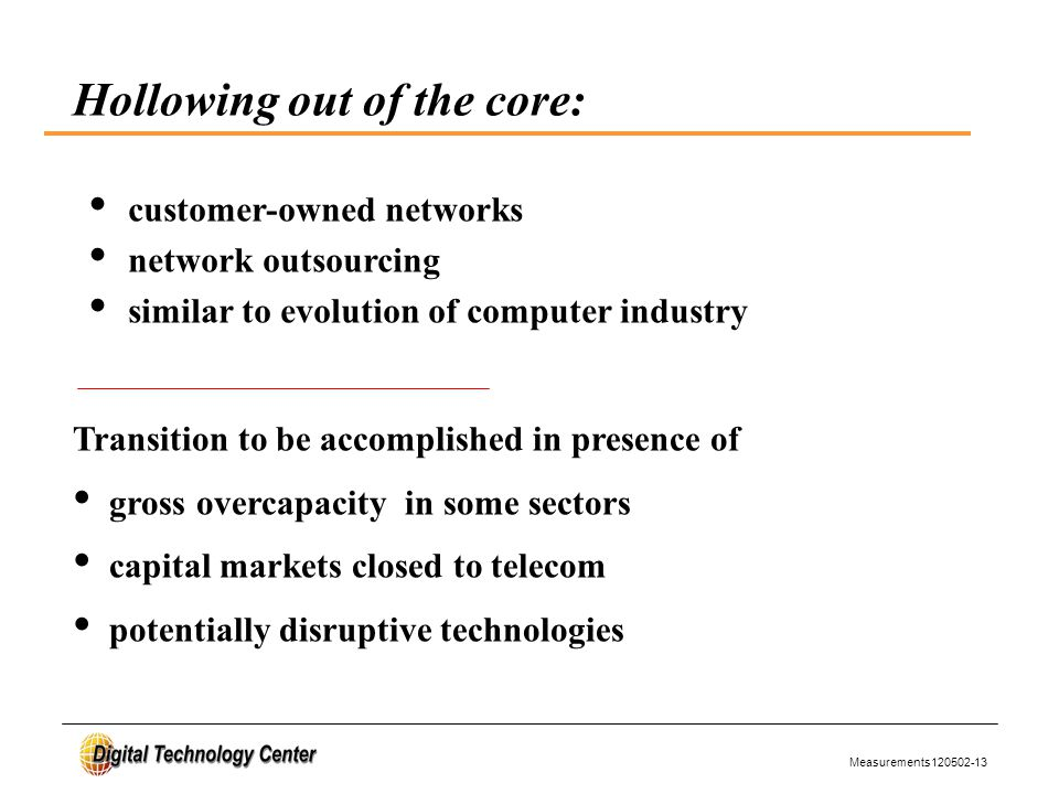 Measurements120502-13 Hollowing out of the core: customer-owned networks network outsourcing similar to evolution of computer industry Transition to be accomplished in presence of gross overcapacity in some sectors capital markets closed to telecom potentially disruptive technologies
