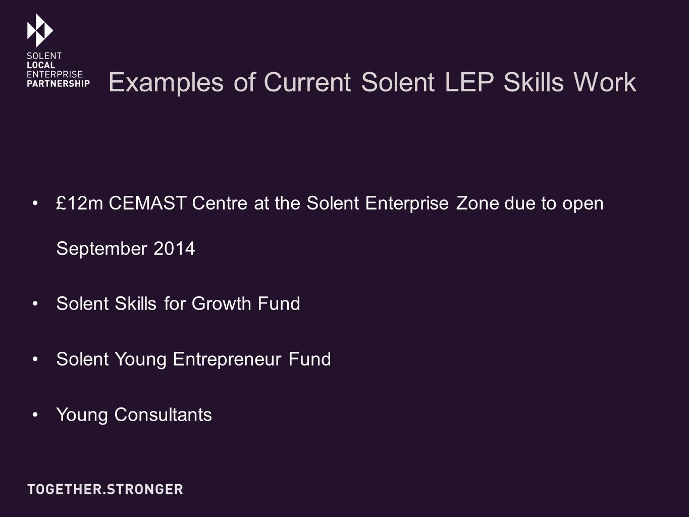 Examples of Current Solent LEP Skills Work £12m CEMAST Centre at the Solent Enterprise Zone due to open September 2014 Solent Skills for Growth Fund Solent Young Entrepreneur Fund Young Consultants