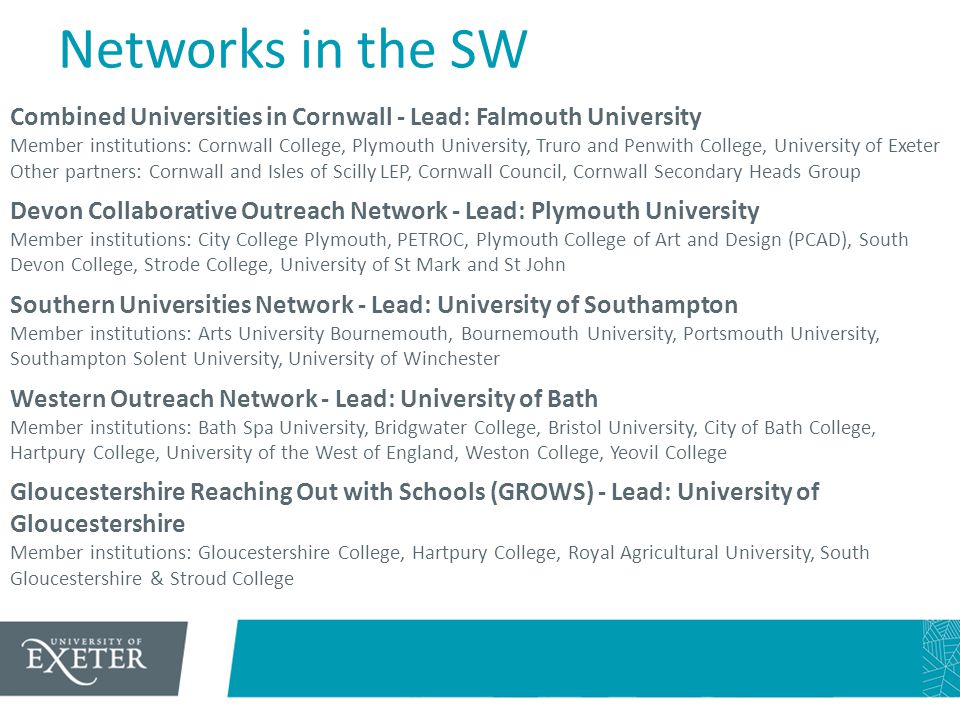 Networks in the SW Combined Universities in Cornwall - Lead: Falmouth University Member institutions: Cornwall College, Plymouth University, Truro and
