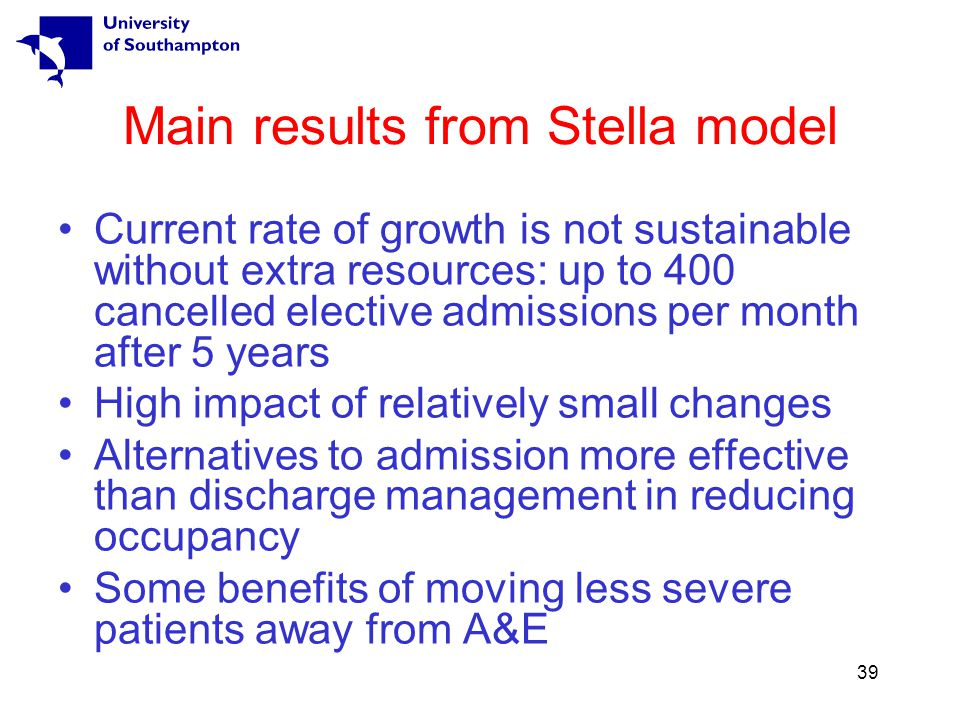 39 Main results from Stella model Current rate of growth is not sustainable without extra resources: up to 400 cancelled elective admissions per month after 5 years High impact of relatively small changes Alternatives to admission more effective than discharge management in reducing occupancy Some benefits of moving less severe patients away from A&E