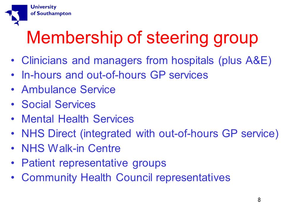 8 Membership of steering group Clinicians and managers from hospitals (plus A&E) In-hours and out-of-hours GP services Ambulance Service Social Services Mental Health Services NHS Direct (integrated with out-of-hours GP service) NHS Walk-in Centre Patient representative groups Community Health Council representatives