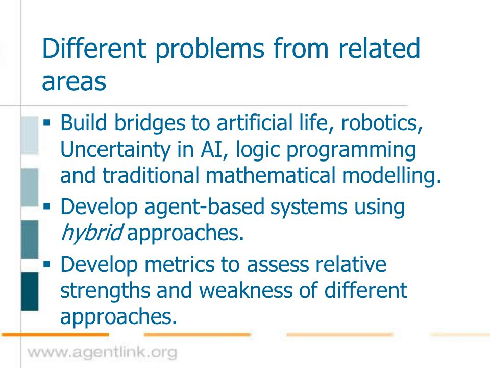 Different problems from related areas  Build bridges to artificial life, robotics, Uncertainty in AI, logic programming and traditional mathematical