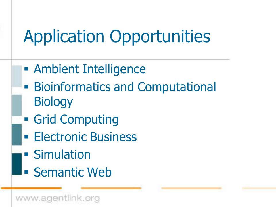  Ambient Intelligence  Bioinformatics and Computational Biology  Grid Computing  Electronic Business  Simulation  Semantic Web