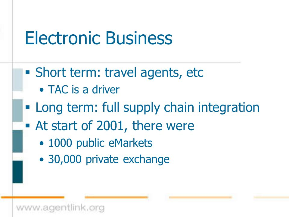 Electronic Business  Short term: travel agents, etc TAC is a driver  Long term: full supply chain integration  At start of 2001, there were 1000 pu