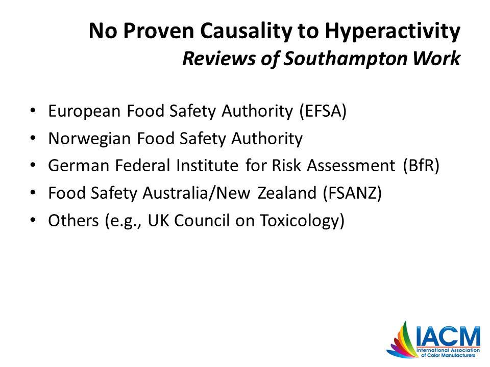 European Food Safety Authority (EFSA) Norwegian Food Safety Authority German Federal Institute for Risk Assessment (BfR) Food Safety Australia/New Zea