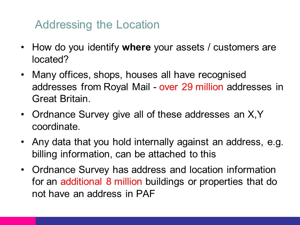Addressing the Location How do you identify where your assets / customers are located.