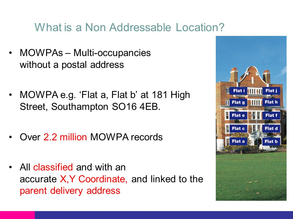 What is a Non Addressable Location? MOWPAs – Multi-occupancies without a postal address MOWPA e.g. 'Flat a, Flat b' at 181 High Street, Southampton SO