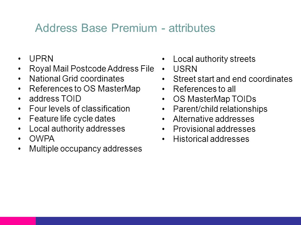Address Base Premium - attributes UPRN Royal Mail Postcode Address File National Grid coordinates References to OS MasterMap address TOID Four levels of classification Feature life cycle dates Local authority addresses OWPA Multiple occupancy addresses Local authority streets USRN Street start and end coordinates References to all OS MasterMap TOIDs Parent/child relationships Alternative addresses Provisional addresses Historical addresses