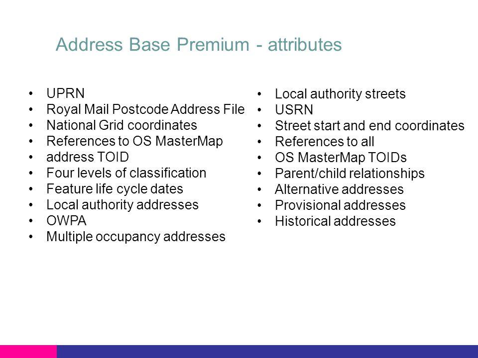 Address Base Premium - attributes UPRN Royal Mail Postcode Address File National Grid coordinates References to OS MasterMap address TOID Four levels