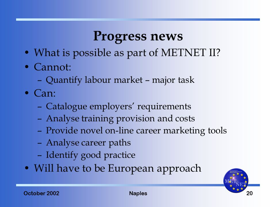 October 2002Naples20 Progress news What is possible as part of METNET II.