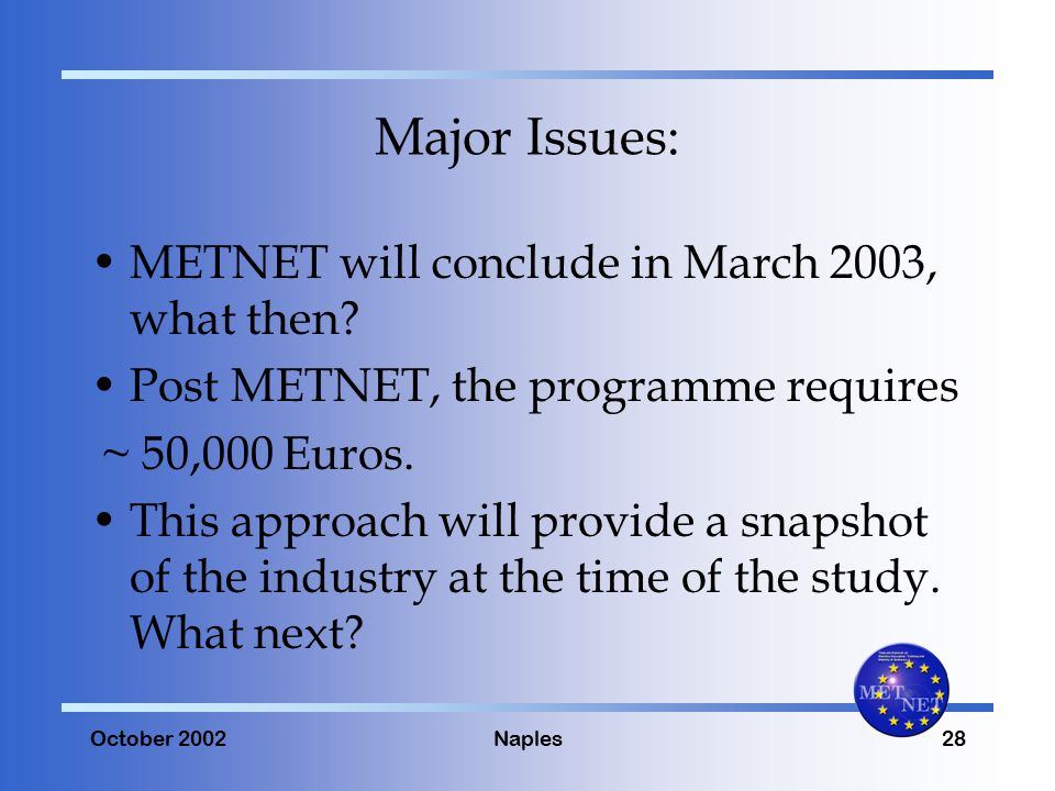 October 2002Naples28 Major Issues: METNET will conclude in March 2003, what then.