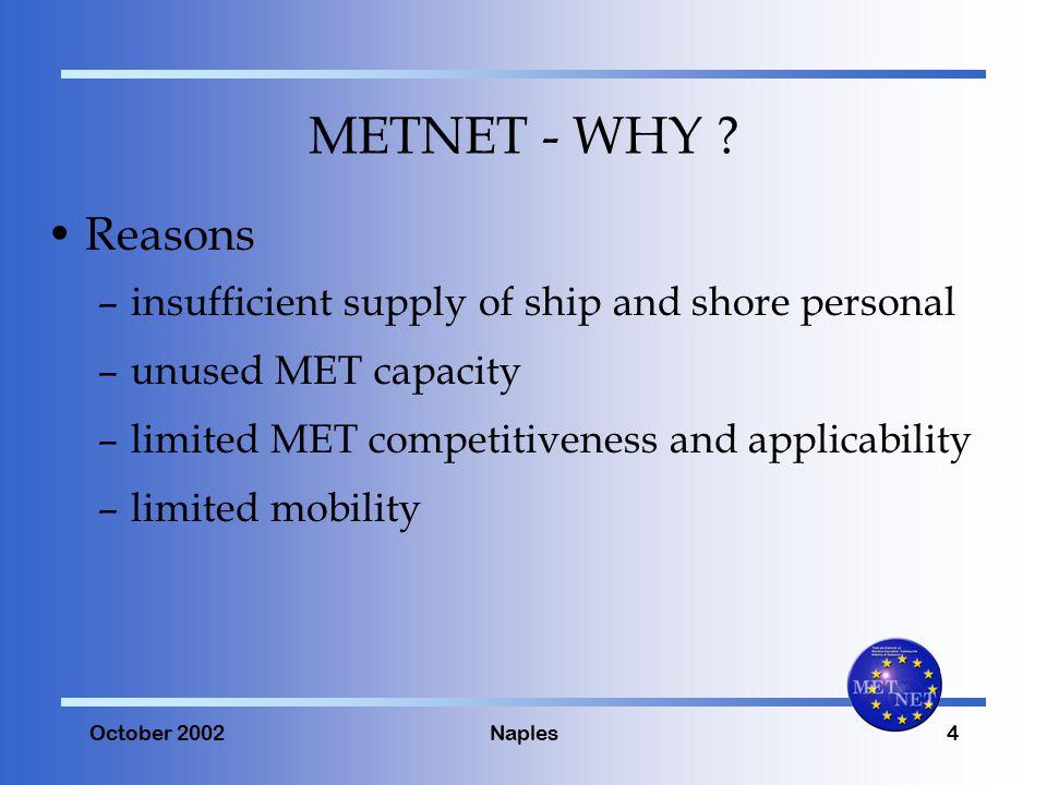 October 2002Naples4 METNET - WHY .